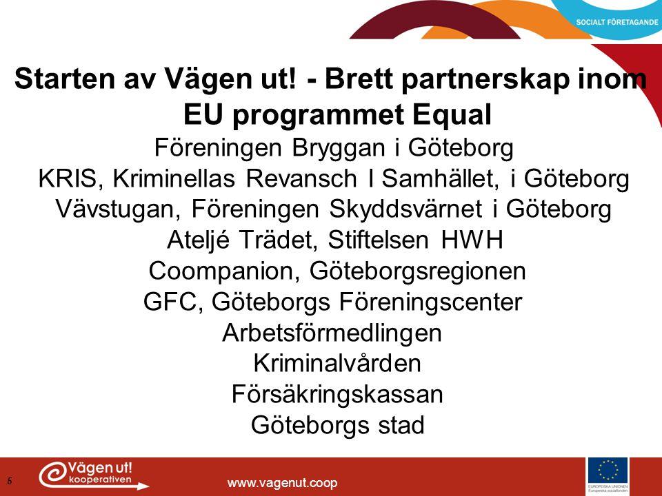 www.vagenut.coop Starten av Vägen ut! - Brett partnerskap inom EU programmet Equal Föreningen Bryggan i Göteborg KRIS, Kriminellas Revansch I Samhälle