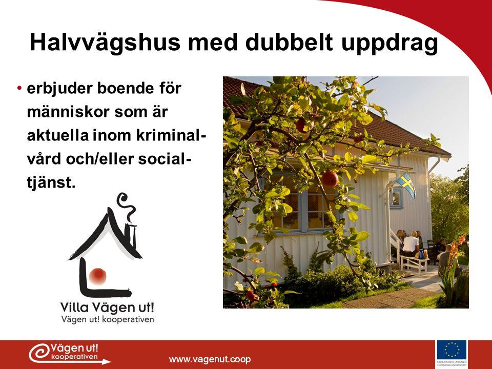 www.vagenut.coop Halvvägshus med dubbelt uppdrag •erbjuder boende för människor som är aktuella inom kriminal- vård och/eller social- tjänst.