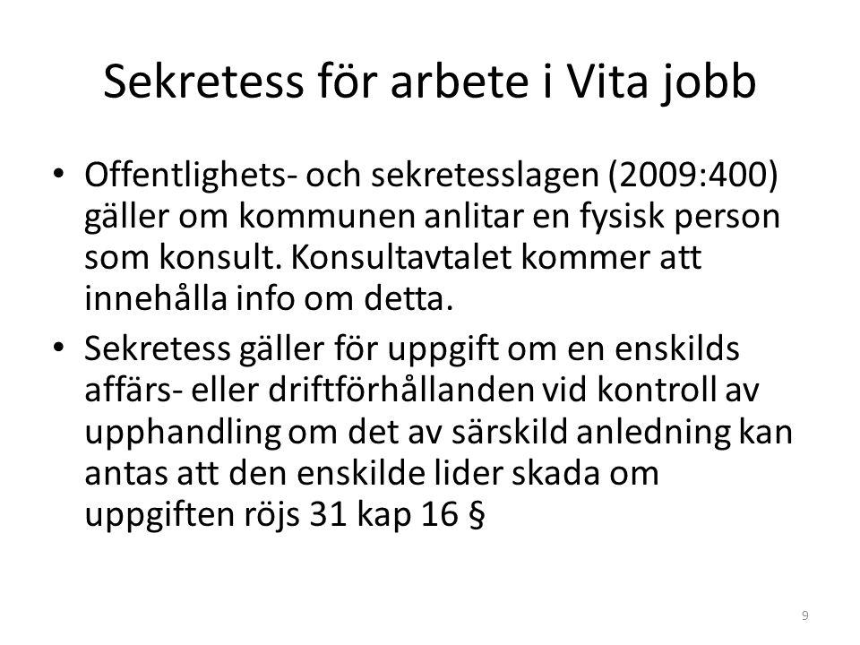 Sekretess för arbete i Vita jobb • Offentlighets- och sekretesslagen (2009:400) gäller om kommunen anlitar en fysisk person som konsult.