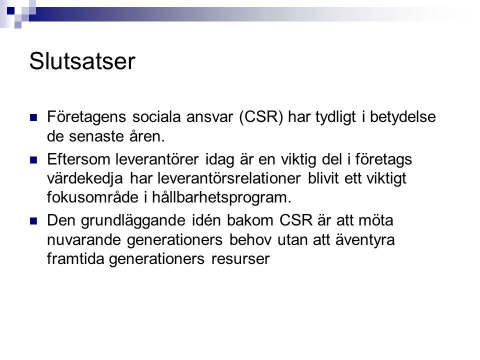 Slutsatser FFöretagens sociala ansvar (CSR) har tydligt i betydelse de senaste åren. EEftersom leverantörer idag är en viktig del i företags värde