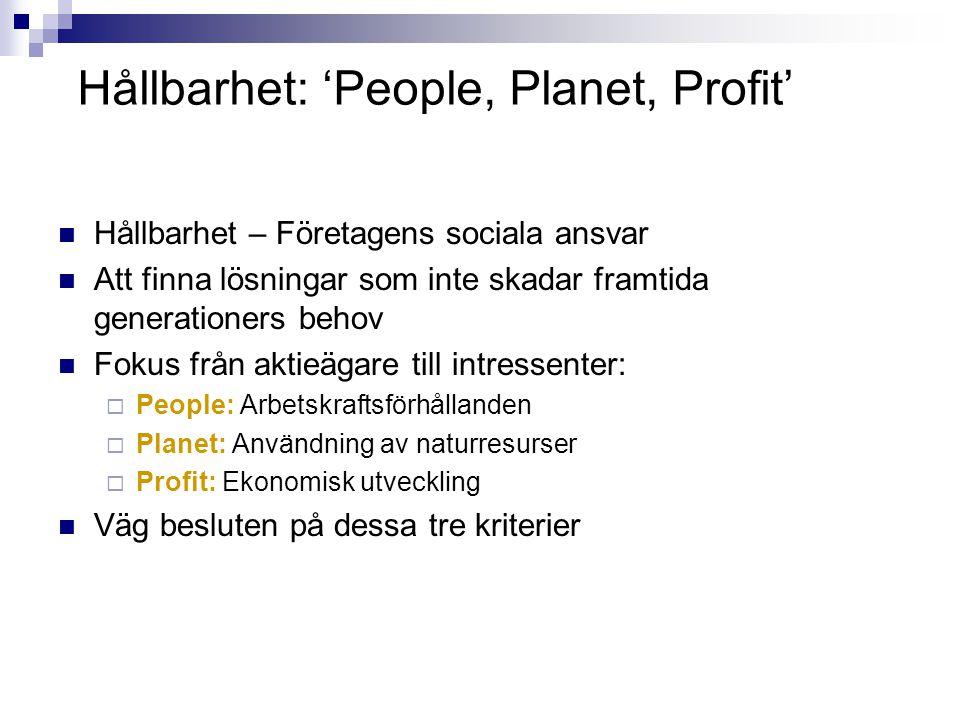 Hållbarhet: 'People, Planet, Profit'  Hållbarhet – Företagens sociala ansvar  Att finna lösningar som inte skadar framtida generationers behov  Fokus från aktieägare till intressenter:  People: Arbetskraftsförhållanden  Planet: Användning av naturresurser  Profit: Ekonomisk utveckling  Väg besluten på dessa tre kriterier