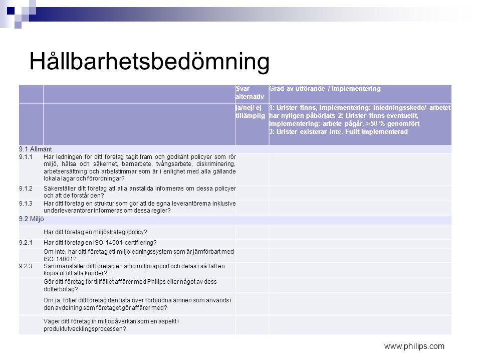 Hållbarhetsbedömning Svar alternativ Grad av utförande / implementering ja/nej/ ej tillämplig 1: Brister finns, Implementering: inledningsskede/ arbet
