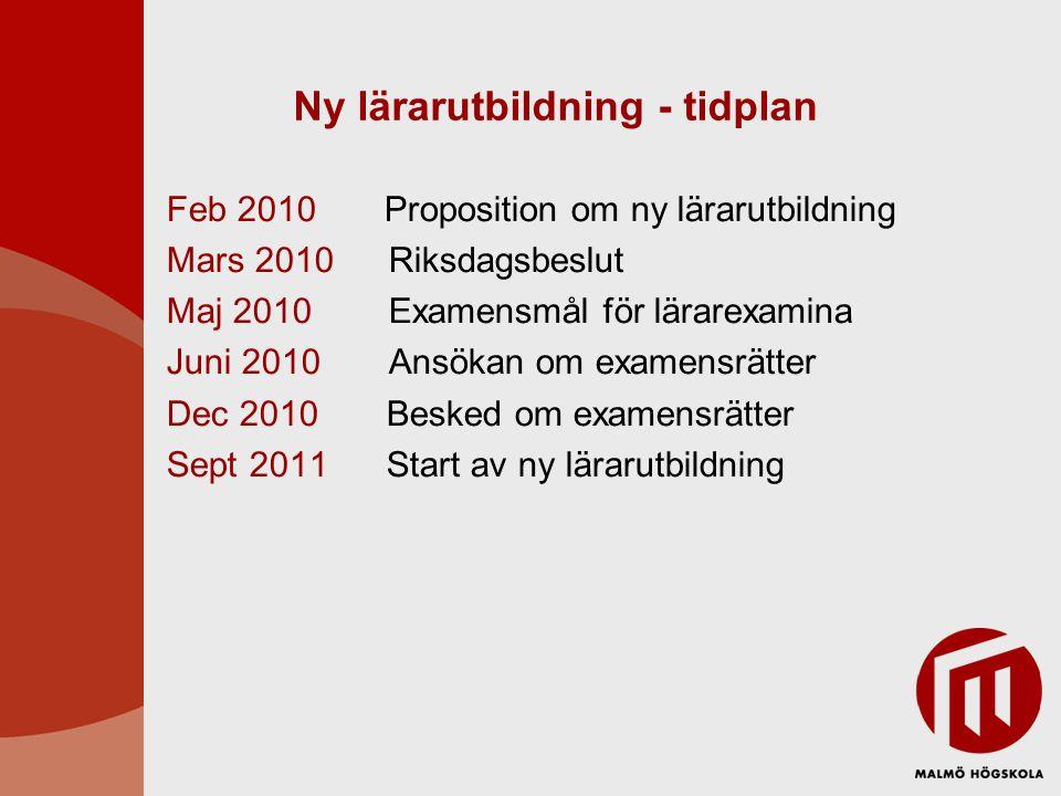 Ny lärarutbildning - tidplan Feb 2010 Proposition om ny lärarutbildning Mars 2010 Riksdagsbeslut Maj 2010 Examensmål för lärarexamina Juni 2010 Ansöka