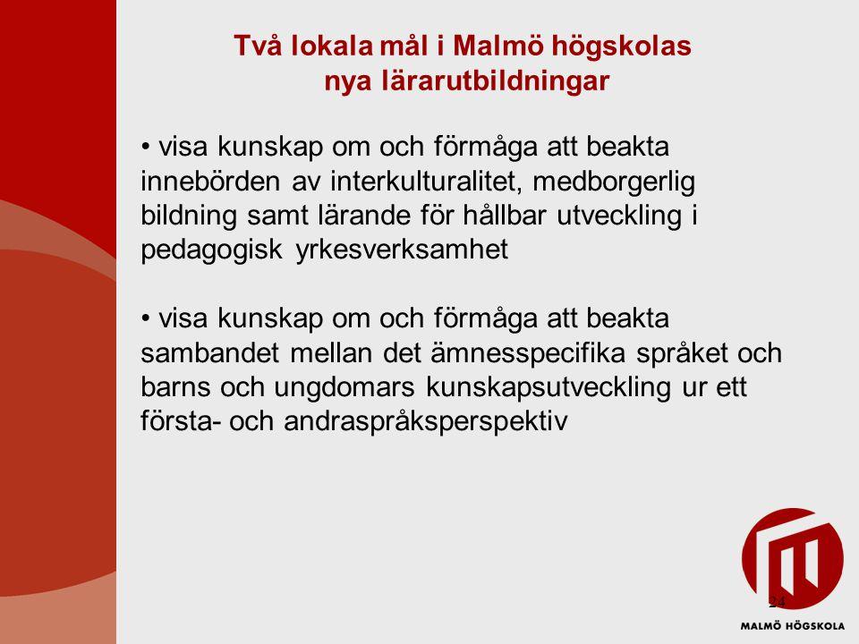 24 Två lokala mål i Malmö högskolas nya lärarutbildningar • visa kunskap om och förmåga att beakta innebörden av interkulturalitet, medborgerlig bildn