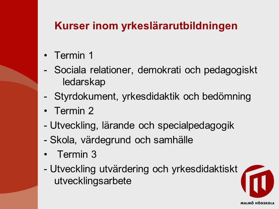 Kurser inom yrkeslärarutbildningen •Termin 1 -Sociala relationer, demokrati och pedagogiskt ledarskap -Styrdokument, yrkesdidaktik och bedömning •Term