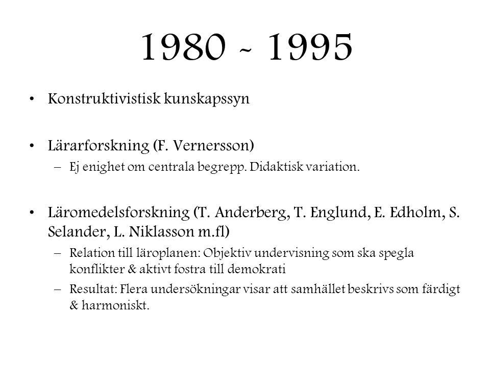 1980 - 1995 •Konstruktivistisk kunskapssyn •Lärarforskning (F. Vernersson) –Ej enighet om centrala begrepp. Didaktisk variation. •Läromedelsforskning