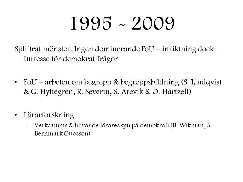 1995 - 2009 Splittrat mönster. Ingen dominerande FoU – inriktning dock: Intresse för demokratifrågor •FoU – arbeten om begrepp & begreppsbildning (S.