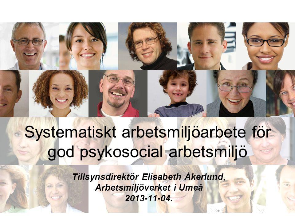 Systematiskt arbetsmiljöarbete för god psykosocial arbetsmiljö Tillsynsdirektör Elisabeth Åkerlund, Arbetsmiljöverket i Umeå 2013-11-04. 1