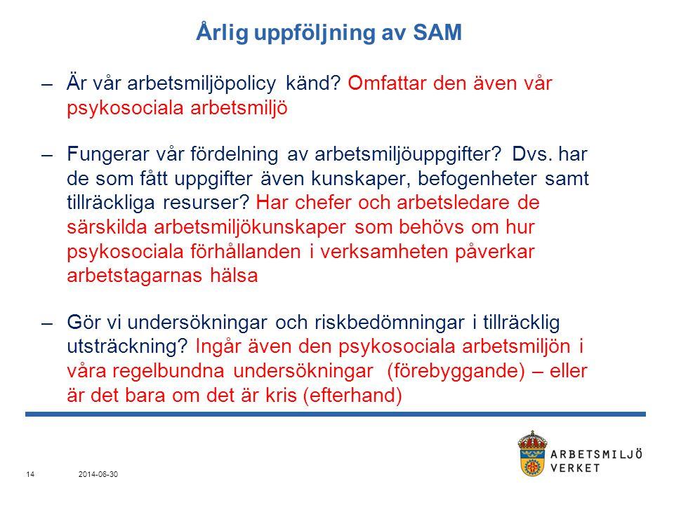 Årlig uppföljning av SAM –Är vår arbetsmiljöpolicy känd? Omfattar den även vår psykosociala arbetsmiljö –Fungerar vår fördelning av arbetsmiljöuppgift