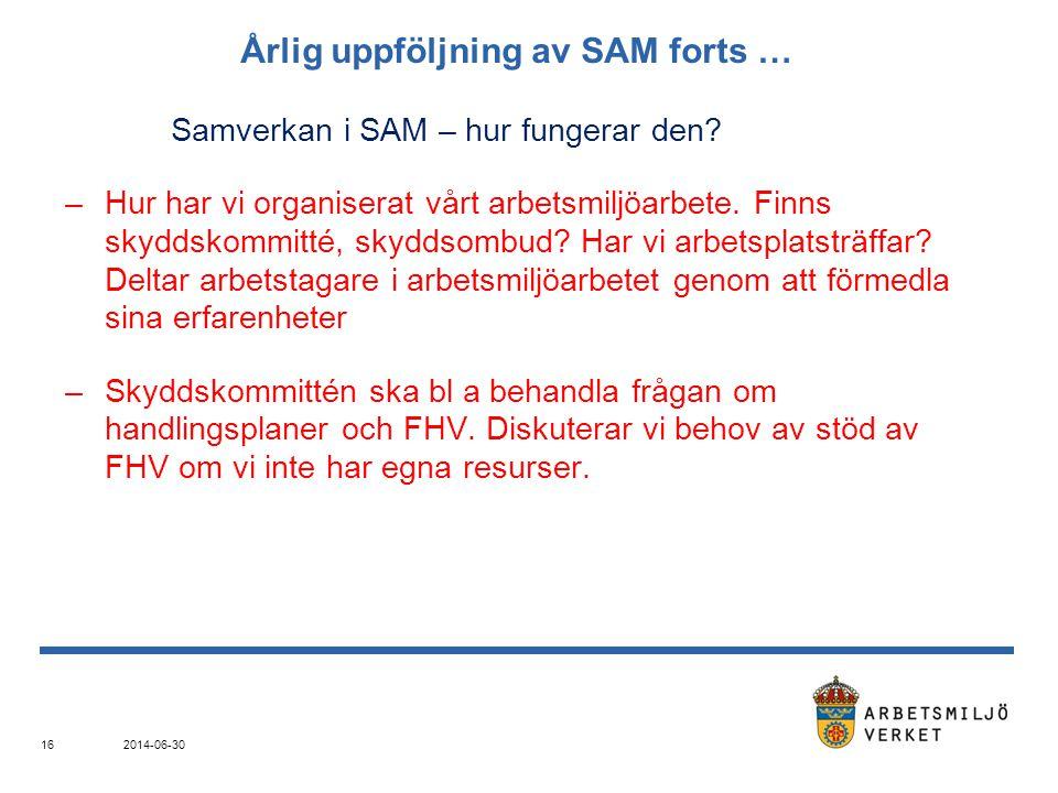 Årlig uppföljning av SAM forts … Samverkan i SAM – hur fungerar den? –Hur har vi organiserat vårt arbetsmiljöarbete. Finns skyddskommitté, skyddsombud