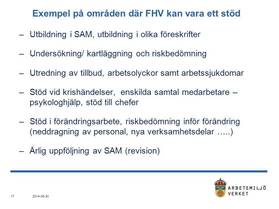 Exempel på områden där FHV kan vara ett stöd –Utbildning i SAM, utbildning i olika föreskrifter –Undersökning/ kartläggning och riskbedömning –Utredning av tillbud, arbetsolyckor samt arbetssjukdomar –Stöd vid krishändelser, enskilda samtal medarbetare – psykologhjälp, stöd till chefer –Stöd i förändringsarbete, riskbedömning inför förändring (neddragning av personal, nya verksamhetsdelar …..) –Årlig uppföljning av SAM (revision) 2014-06-30 17