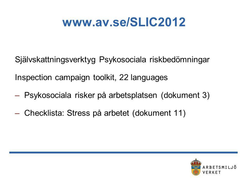 www.av.se/SLIC2012 Självskattningsverktyg Psykosociala riskbedömningar Inspection campaign toolkit, 22 languages –Psykosociala risker på arbetsplatsen (dokument 3) –Checklista: Stress på arbetet (dokument 11)