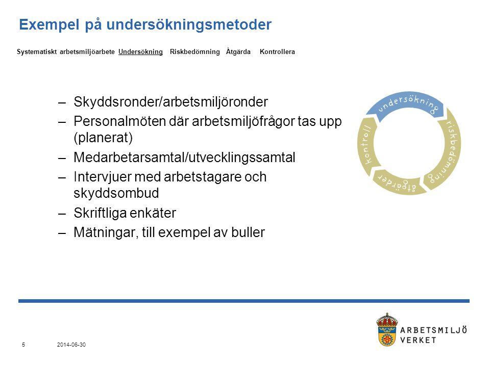 2014-06-30 5 Exempel på undersökningsmetoder –Skyddsronder/arbetsmiljöronder –Personalmöten där arbetsmiljöfrågor tas upp (planerat) –Medarbetarsamtal