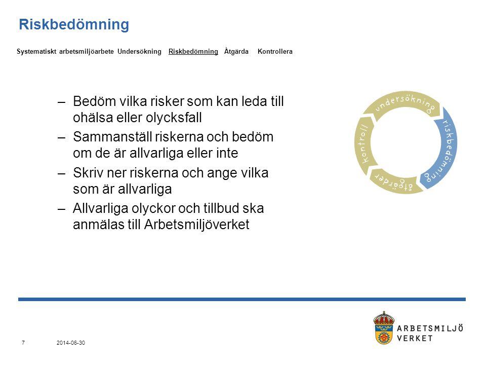 2014-06-30 7 Riskbedömning –Bedöm vilka risker som kan leda till ohälsa eller olycksfall –Sammanställ riskerna och bedöm om de är allvarliga eller inte –Skriv ner riskerna och ange vilka som är allvarliga –Allvarliga olyckor och tillbud ska anmälas till Arbetsmiljöverket UndersökningRiskbedömningÅtgärdaKontrolleraSystematiskt arbetsmiljöarbete