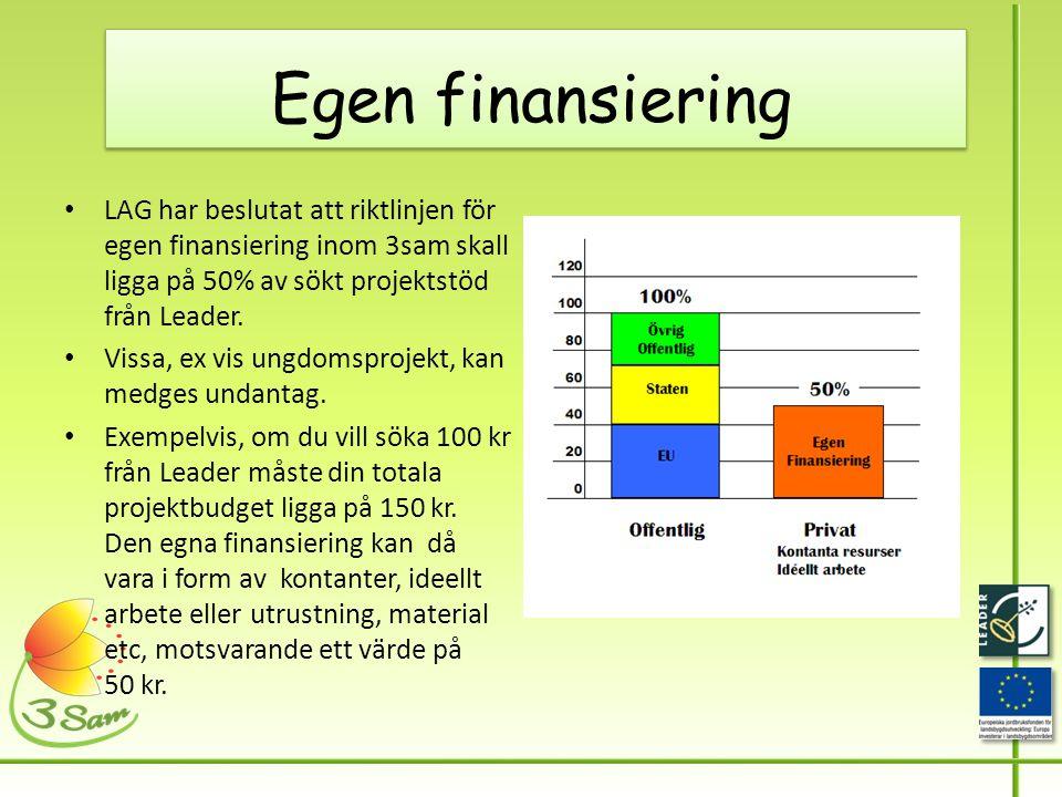 Egen finansiering • LAG har beslutat att riktlinjen för egen finansiering inom 3sam skall ligga på 50% av sökt projektstöd från Leader.