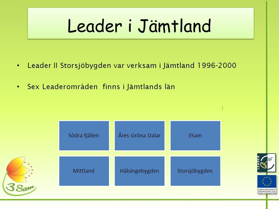 Leader i Jämtland • Leader II Storsjöbygden var verksam i Jämtland 1996-2000 • Sex Leaderområden finns i Jämtlands län Södra fjällenÅres Gröna Dalar3Sam MittlandHälsingebygdenStorsjöbygden