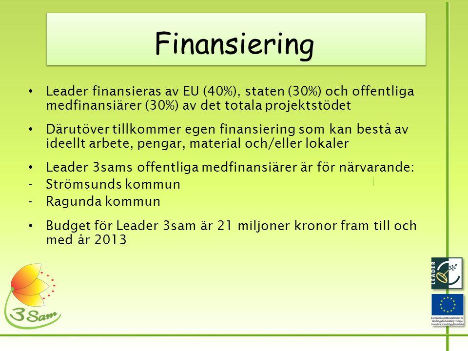Finansiering • Leader finansieras av EU (40%), staten (30%) och offentliga medfinansiärer (30%) av det totala projektstödet • Därutöver tillkommer egen finansiering som kan bestå av ideellt arbete, pengar, material och/eller lokaler • Leader 3sams offentliga medfinansiärer är för närvarande: -Strömsunds kommun -Ragunda kommun • Budget för Leader 3sam är 21 miljoner kronor fram till och med år 2013