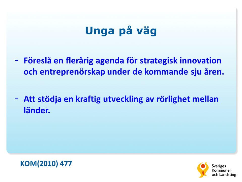 Unga på väg - Föreslå en flerårig agenda för strategisk innovation och entreprenörskap under de kommande sju åren.
