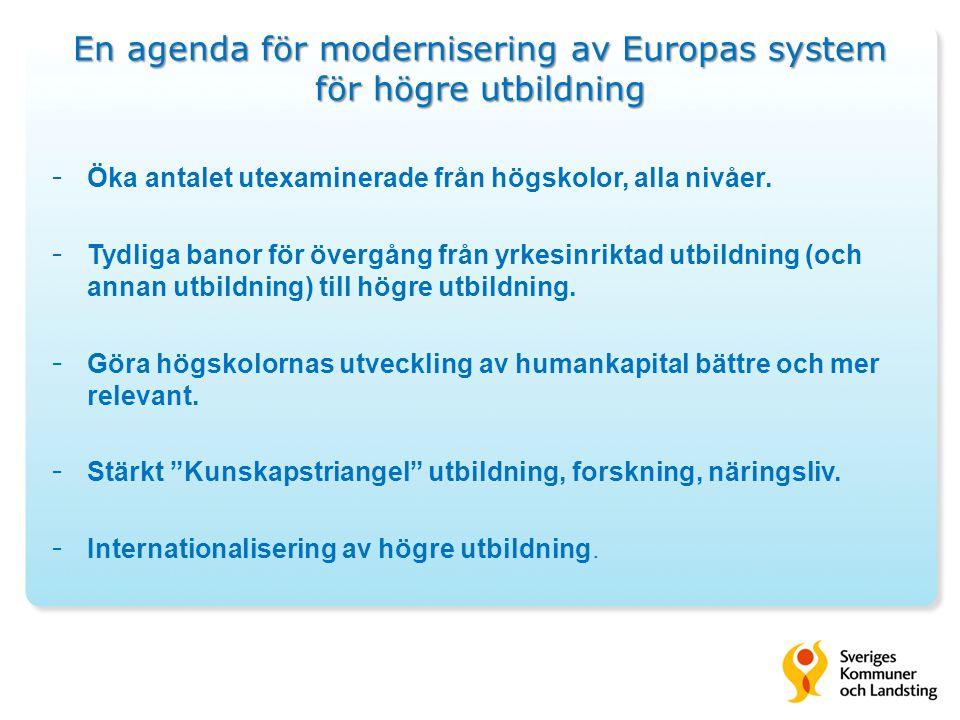En agenda för modernisering av Europas system för högre utbildning - Öka antalet utexaminerade från högskolor, alla nivåer.