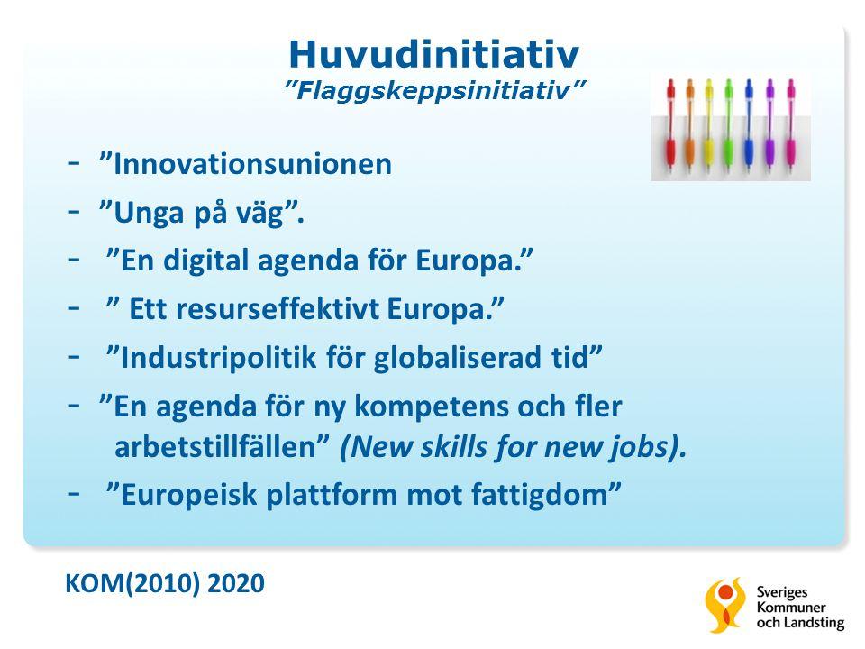 Huvudinitiativ Flaggskeppsinitiativ - Innovationsunionen - Unga på väg .
