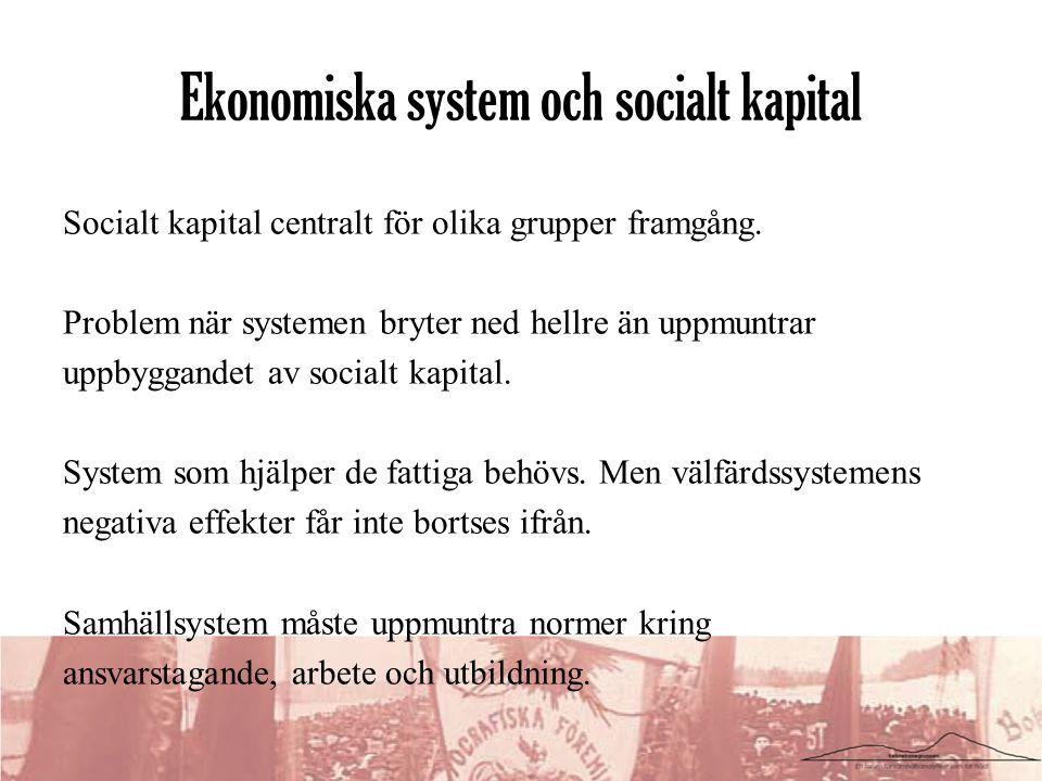 Socialt kapital centralt för olika grupper framgång. Problem när systemen bryter ned hellre än uppmuntrar uppbyggandet av socialt kapital. System som