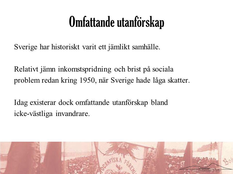 Omfattande utanförskap Sverige har historiskt varit ett jämlikt samhälle. Relativt jämn inkomstspridning och brist på sociala problem redan kring 1950
