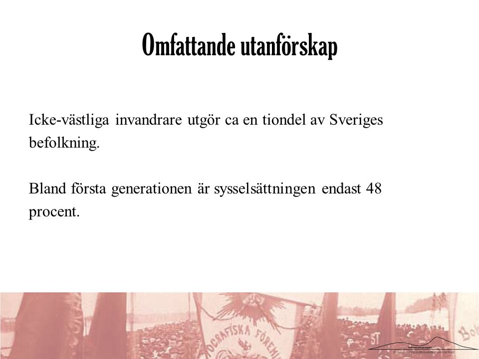 Omfattande utanförskap Icke-västliga invandrare utgör ca en tiondel av Sveriges befolkning. Bland första generationen är sysselsättningen endast 48 pr