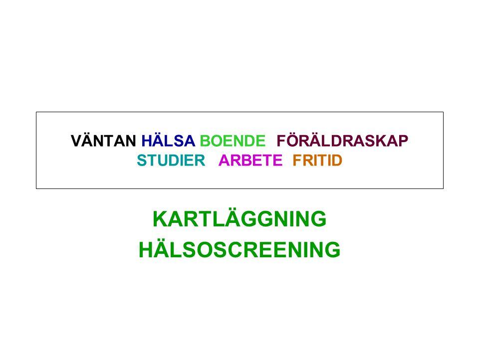 VÄNTAN HÄLSA BOENDE FÖRÄLDRASKAP STUDIER ARBETE FRITID KARTLÄGGNING HÄLSOSCREENING