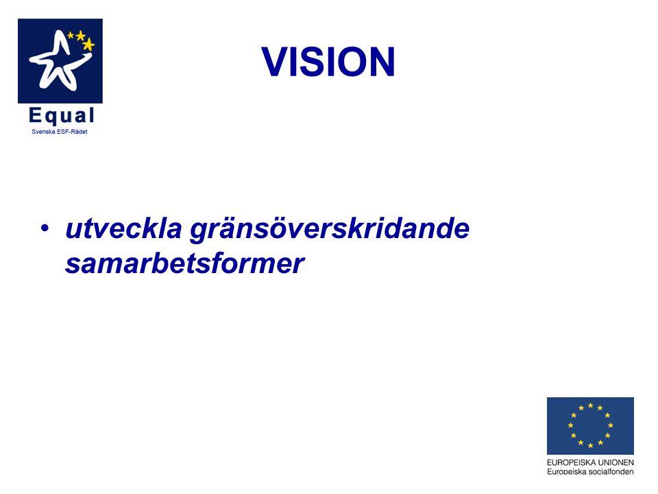 VISION •utveckla gränsöverskridande samarbetsformer