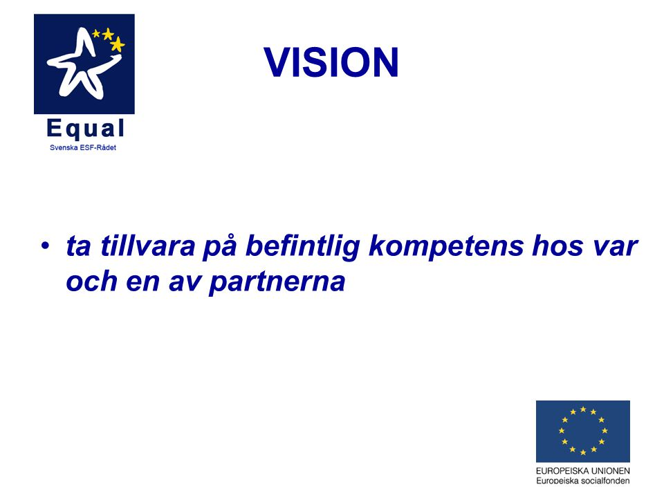 VISION •ta tillvara på befintlig kompetens hos var och en av partnerna