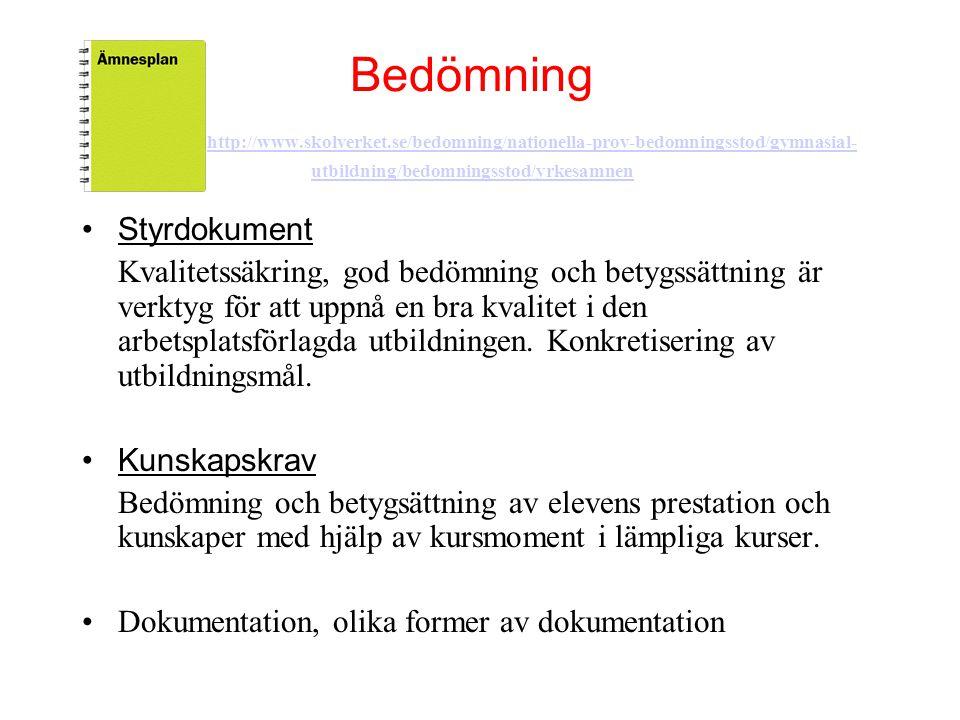 Bedömning http://www.skolverket.se/bedomning/nationella-prov-bedomningsstod/gymnasial- utbildning/bedomningsstod/yrkesamnen http://www.skolverket.se/b