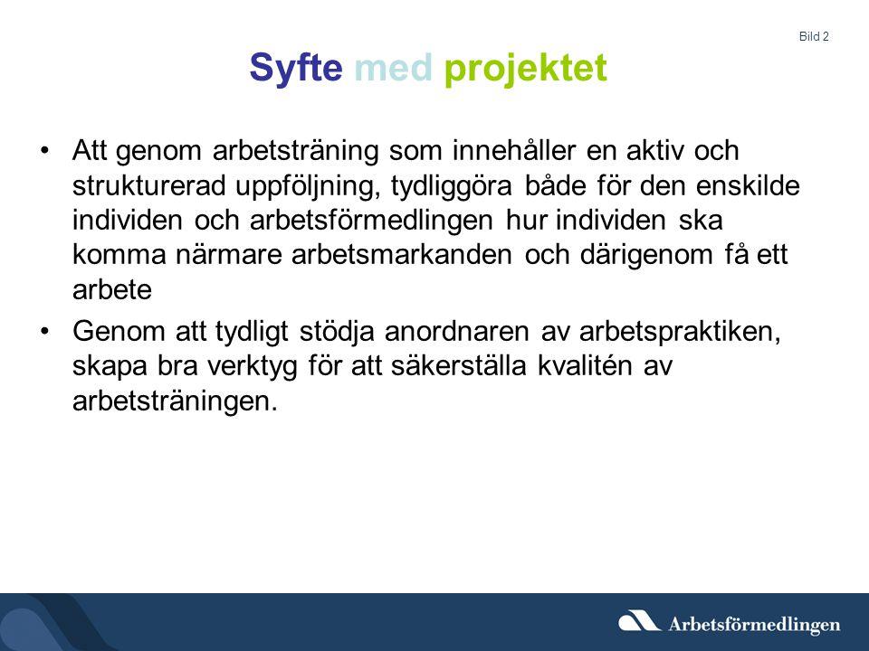 Bild 2 Syfte med projektet •Att genom arbetsträning som innehåller en aktiv och strukturerad uppföljning, tydliggöra både för den enskilde individen o