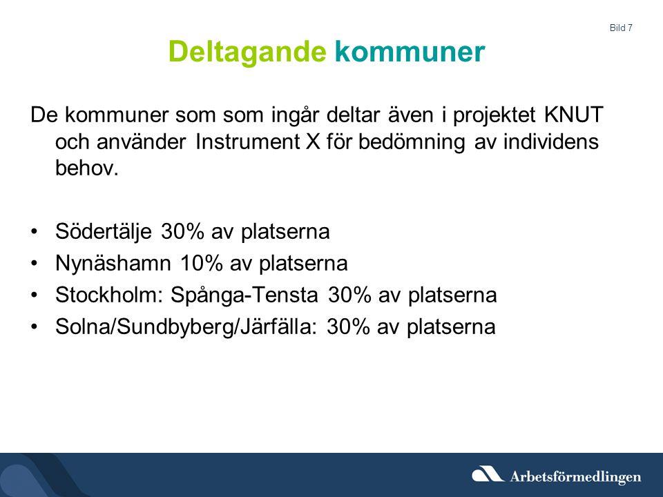 Bild 7 Deltagande kommuner De kommuner som som ingår deltar även i projektet KNUT och använder Instrument X för bedömning av individens behov. •Södert