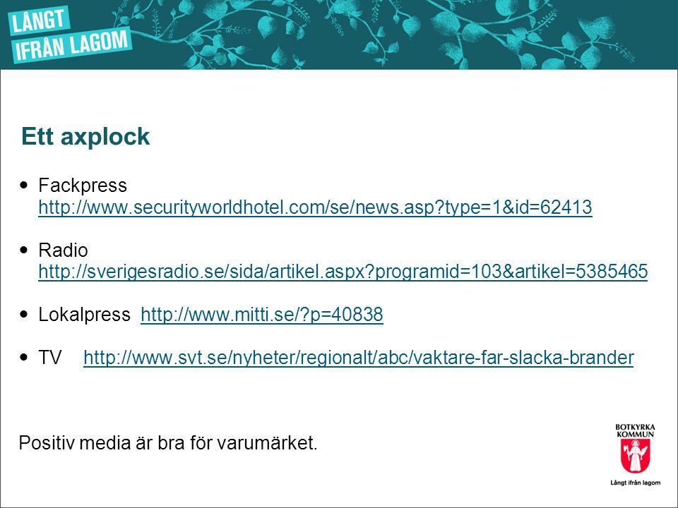 Ett axplock  Fackpress http://www.securityworldhotel.com/se/news.asp?type=1&id=62413 http://www.securityworldhotel.com/se/news.asp?type=1&id=62413 