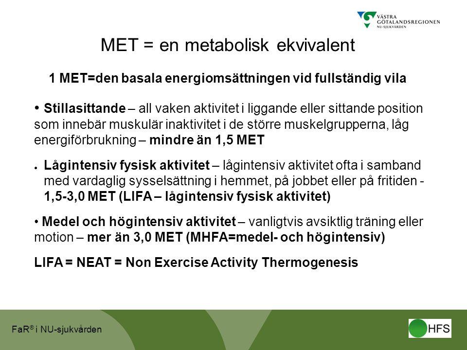 FaR ® i NU-sjukvården MET = en metabolisk ekvivalent 1 MET=den basala energiomsättningen vid fullständig vila • Stillasittande – all vaken aktivitet i