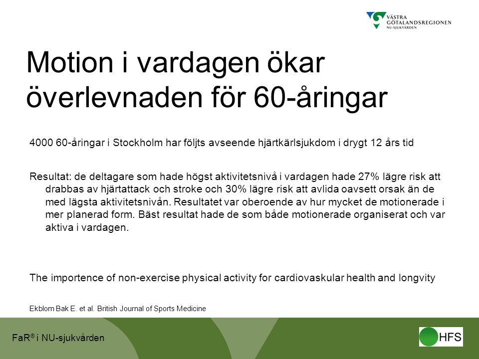 FaR ® i NU-sjukvården Motion i vardagen ökar överlevnaden för 60-åringar 4000 60-åringar i Stockholm har följts avseende hjärtkärlsjukdom i drygt 12 å