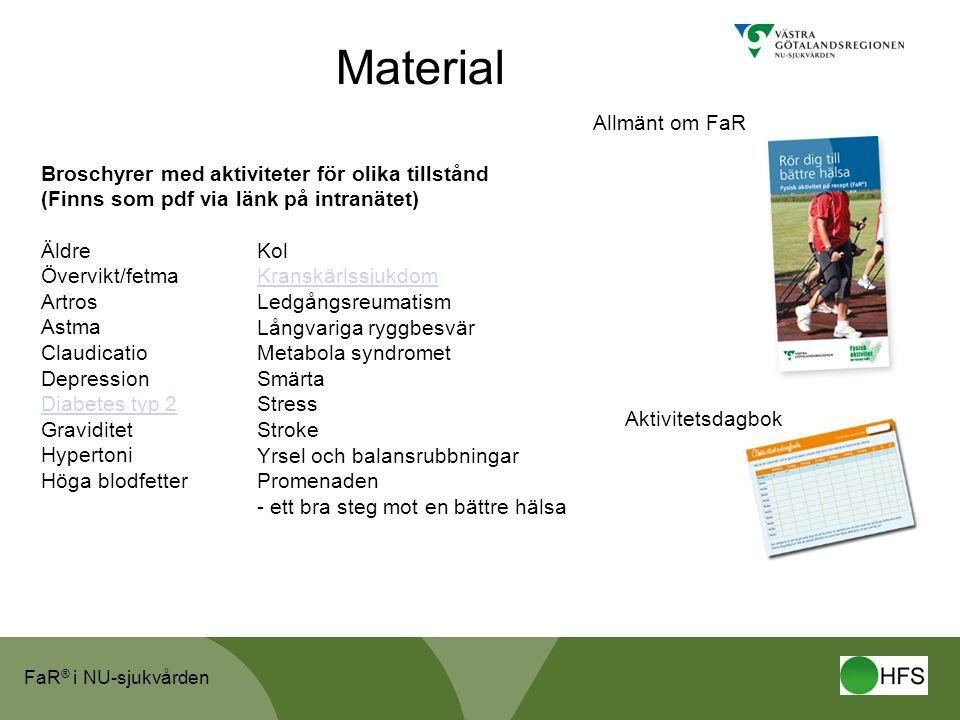 FaR ® i NU-sjukvården Material Broschyrer med aktiviteter för olika tillstånd (Finns som pdf via länk på intranätet) Äldre Övervikt/fetma Artros Astma