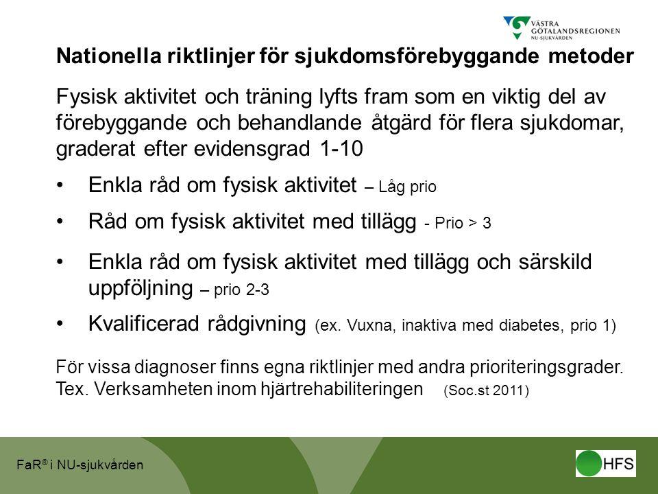 FaR ® i NU-sjukvården Nationella riktlinjer för sjukdomsförebyggande metoder Fysisk aktivitet och träning lyfts fram som en viktig del av förebyggande
