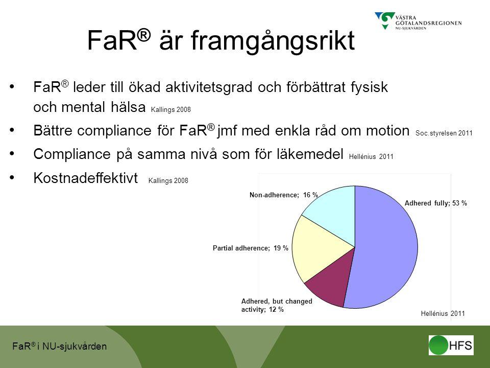 FaR ® i NU-sjukvården FaR ® är framgångsrikt • FaR ® leder till ökad aktivitetsgrad och förbättrat fysisk och mental hälsa Kallings 2008 • Bättre comp