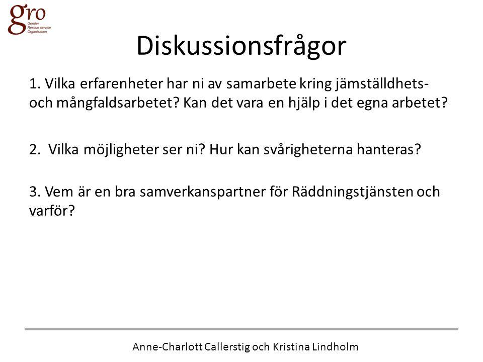 Anne-Charlott Callerstig och Kristina Lindholm Diskussionsfrågor 1. Vilka erfarenheter har ni av samarbete kring jämställdhets- och mångfaldsarbetet?