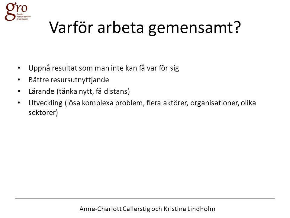 Anne-Charlott Callerstig och Kristina Lindholm Varför arbeta gemensamt? • Uppnå resultat som man inte kan få var för sig • Bättre resursutnyttjande •