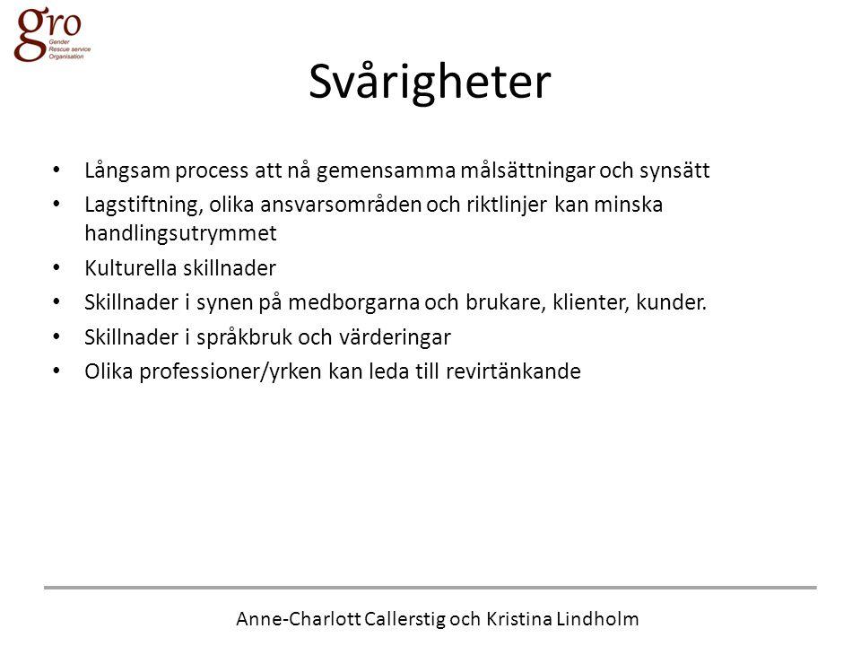 Anne-Charlott Callerstig och Kristina Lindholm Svårigheter • Långsam process att nå gemensamma målsättningar och synsätt • Lagstiftning, olika ansvars