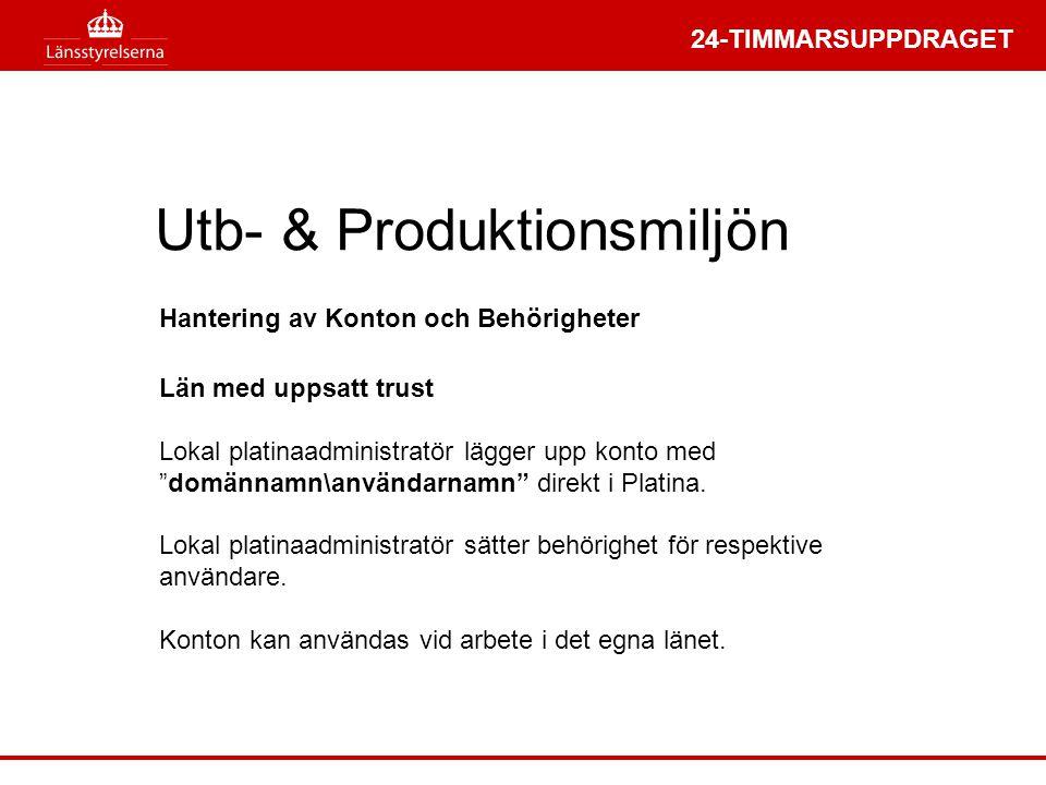 """24-TIMMARSUPPDRAGET Utb- & Produktionsmiljön Län med uppsatt trust Lokal platinaadministratör lägger upp konto med """"domännamn\användarnamn"""" direkt i P"""