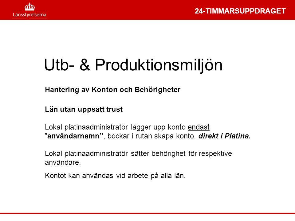 """24-TIMMARSUPPDRAGET Utb- & Produktionsmiljön Län utan uppsatt trust Lokal platinaadministratör lägger upp konto endast """"användarnamn"""", bockar i rutan"""