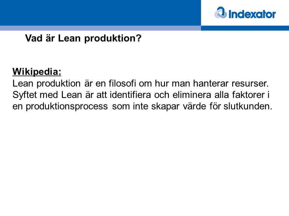 Vad är Lean produktion? Wikipedia: Lean produktion är en filosofi om hur man hanterar resurser. Syftet med Lean är att identifiera och eliminera alla
