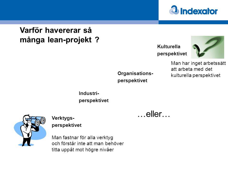 Varför havererar så många lean-projekt ? Industri- perspektivet Verktygs- perspektivet Organisations- perspektivet Kulturella perspektivet Man fastnar