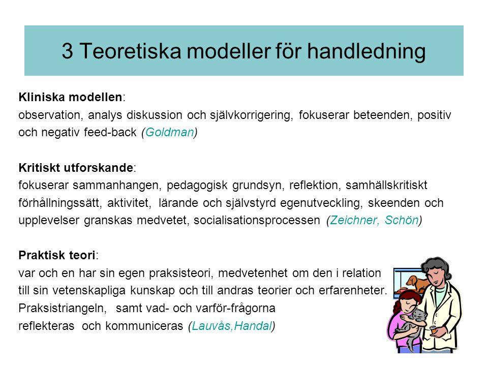 3 Teoretiska modeller för handledning Kliniska modellen: observation, analys diskussion och självkorrigering, fokuserar beteenden, positiv och negativ