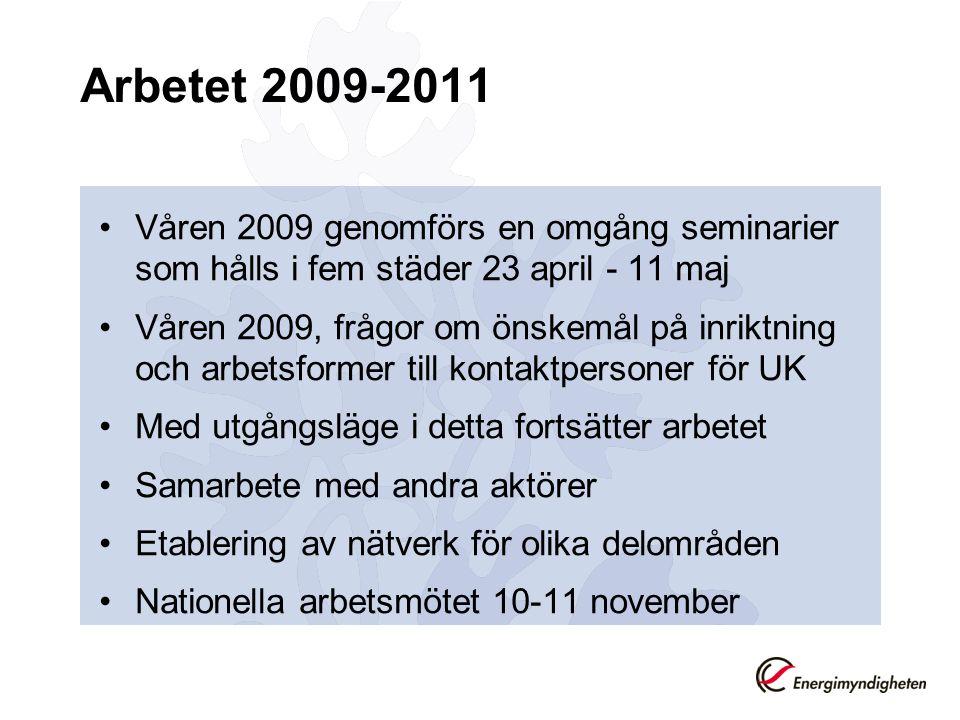 Arbetet 2009-2011 •Våren 2009 genomförs en omgång seminarier som hålls i fem städer 23 april - 11 maj •Våren 2009, frågor om önskemål på inriktning oc