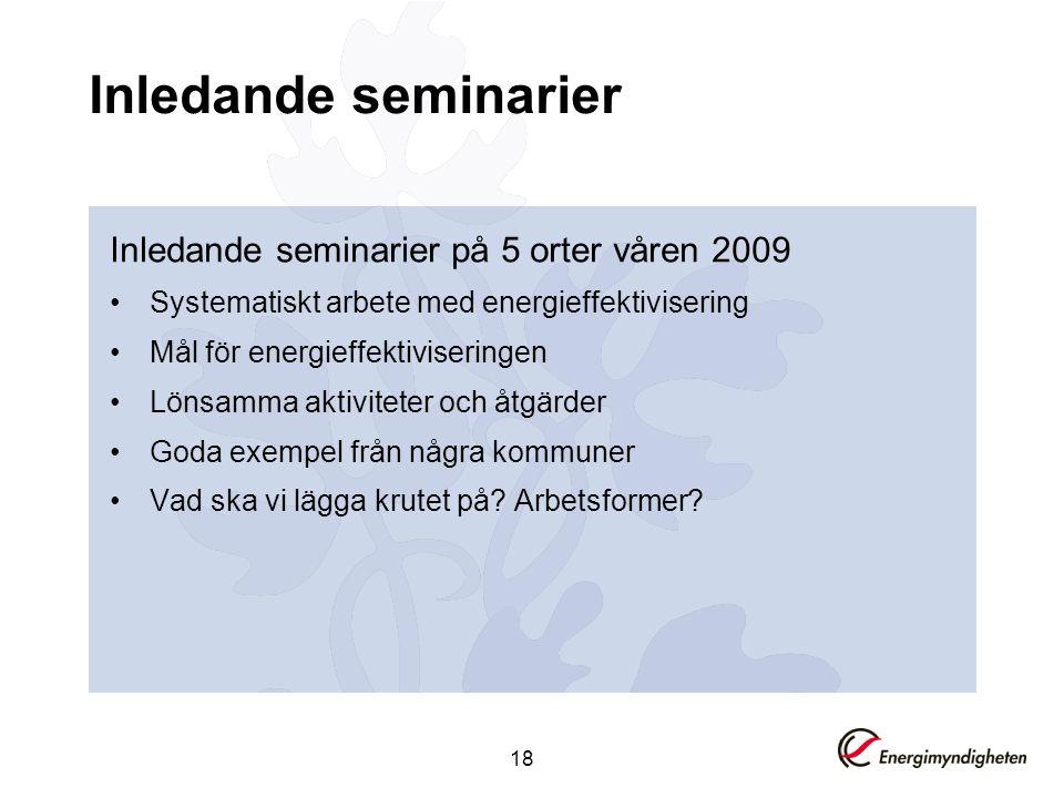 18 Inledande seminarier Inledande seminarier på 5 orter våren 2009 •Systematiskt arbete med energieffektivisering •Mål för energieffektiviseringen •Lö