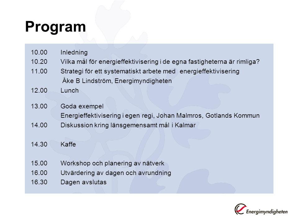 Program 10.00 Inledning 10.20Vilka mål för energieffektivisering i de egna fastigheterna är rimliga? 11.00Strategi för ett systematiskt arbete med ene